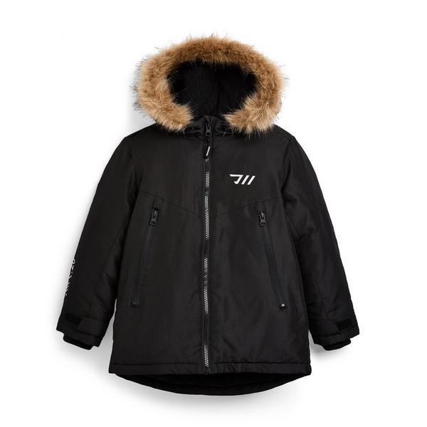 Younger Boy Black Windbreaker Coat