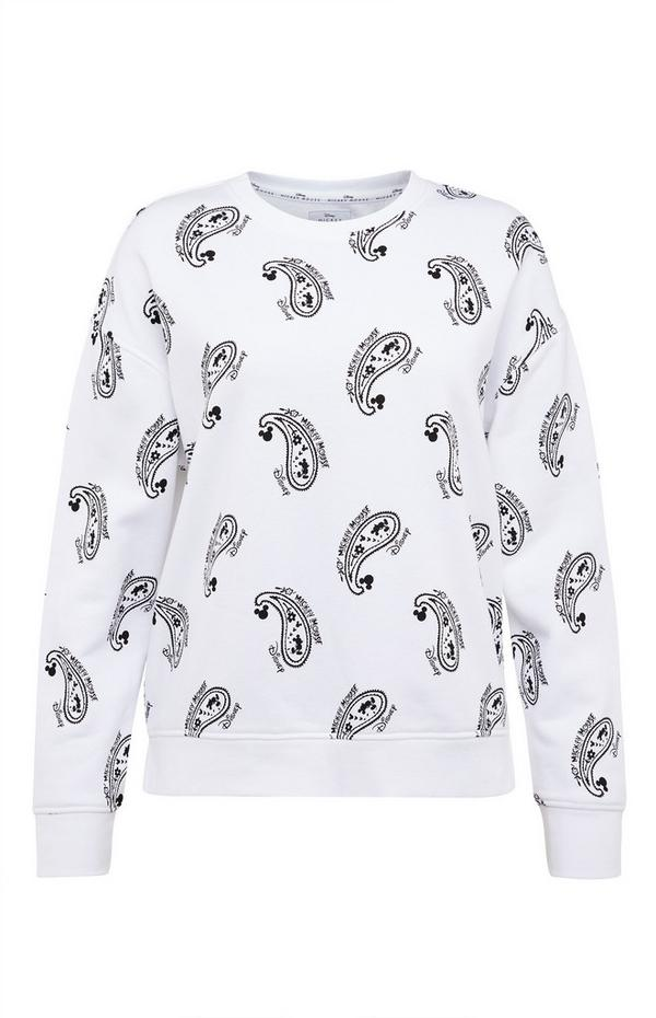 Witte sweater Disney Mickey Mouse met paisleyprint
