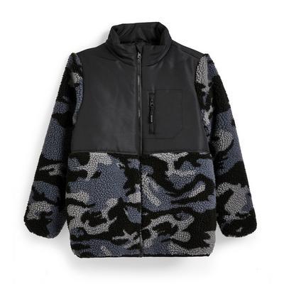 Older Boy Charcoal Camouflage Fleece Jacket