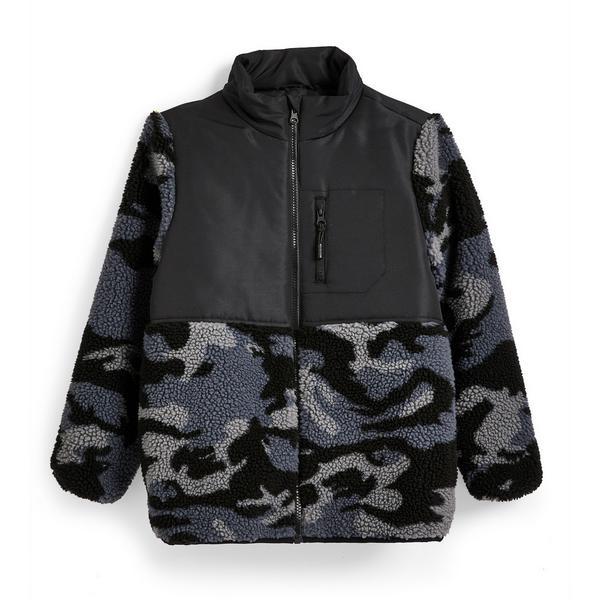 Donkergrijze jas met borgstof en camouflageprint voor jongens