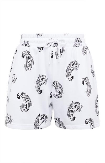 """Weiße """"Disney Micky Maus"""" Shorts mit Paisleymuster und Kordelzug"""