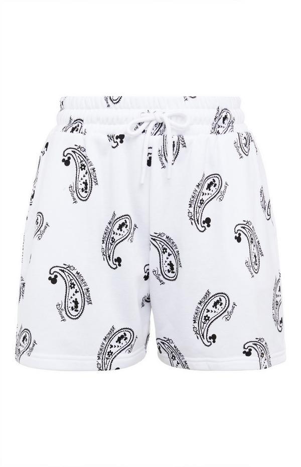 Pantalón corto blanco con estampado de cachemira y cordón de ajuste de Mickey Mouse de Disney