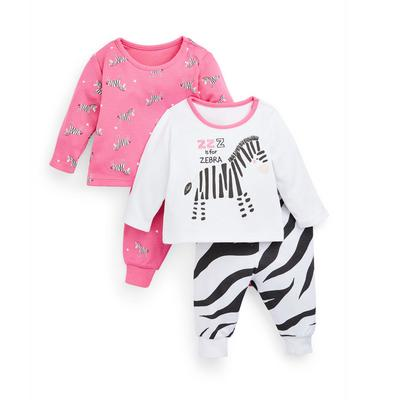 Jersey babypyjama's met zebraprint voor meisjes, set van 2