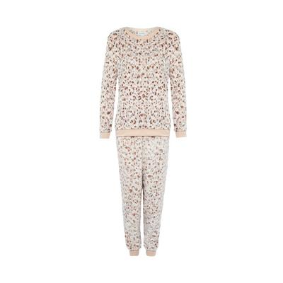 Beige Animal Print Cosy Pyjamas Set