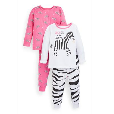 Baby Girl Zebra Print Jersey Pajamas 2-Pack