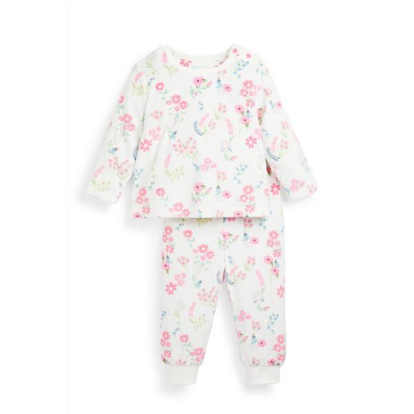 Baby Girl Floral Print Minky Pyjamas Set