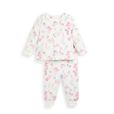 Pyjama en tissu minky à fleurs bébé fille