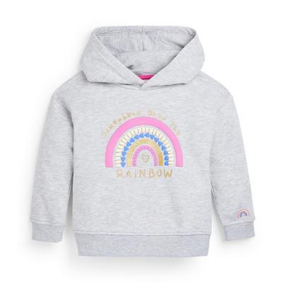 Younger Girl Grey Rainbow Print Hoodie