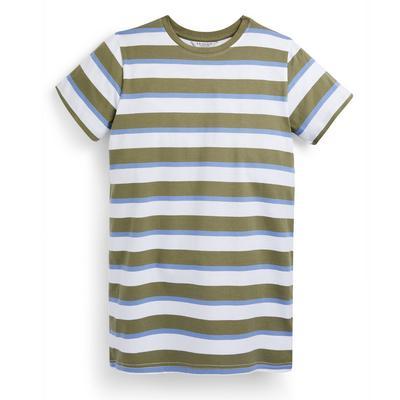 Kaki gestreepte T-shirtjurk van jersey voor meisjes