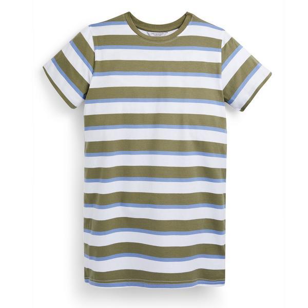 Abito T-shirt kaki a righe in jersey da ragazza