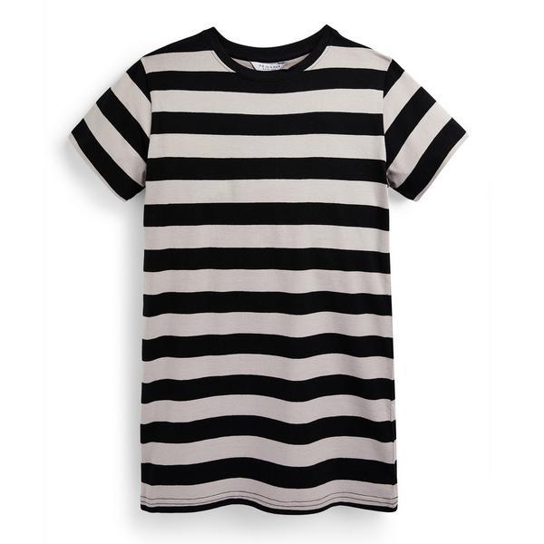 Zwart gestreepte T-shirtjurk van jersey voor meisjes