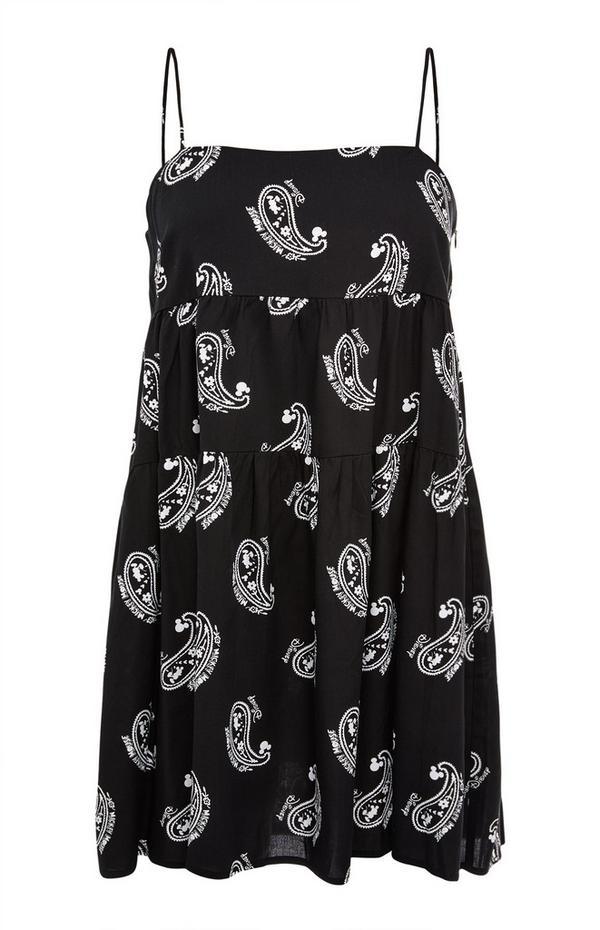 Zwarte jurk Disney Mickey Mouse met paisleyprint