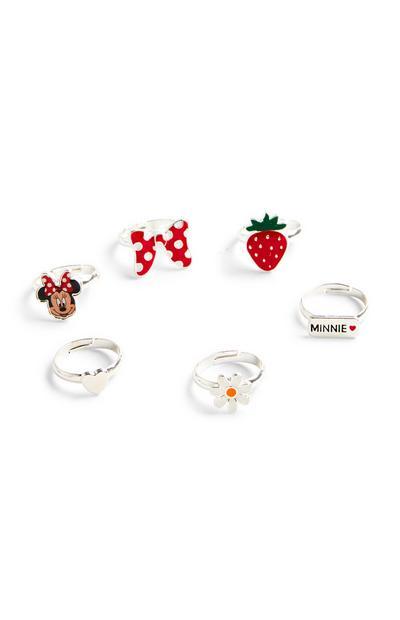 Pack de 6 anillos plateados y rojos de Minnie Mouse de Disney