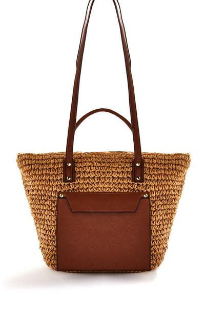 Brown Faux Leather Straw Bucket Bag