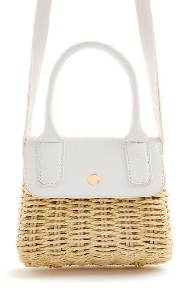 White Straw Woven Mini Crossbody Bag