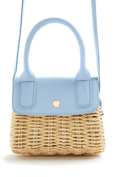 Blue Straw Woven Mini Crossbody Bag
