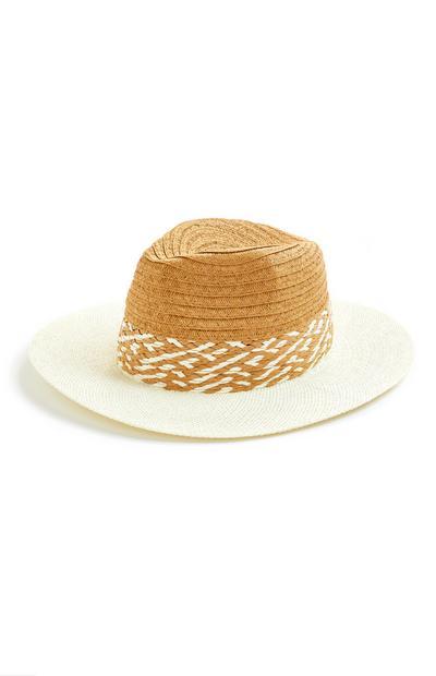 Straw Contrast Trim Fedora Hat