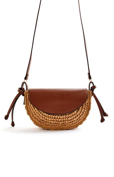 Woven Brown Faux PU Leather Crossbody Bag