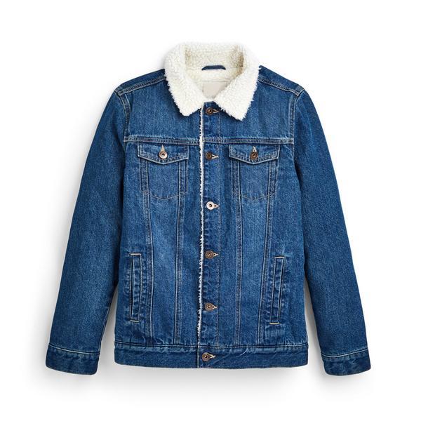 Older Girl Blue Denim Borg Collar Jacket