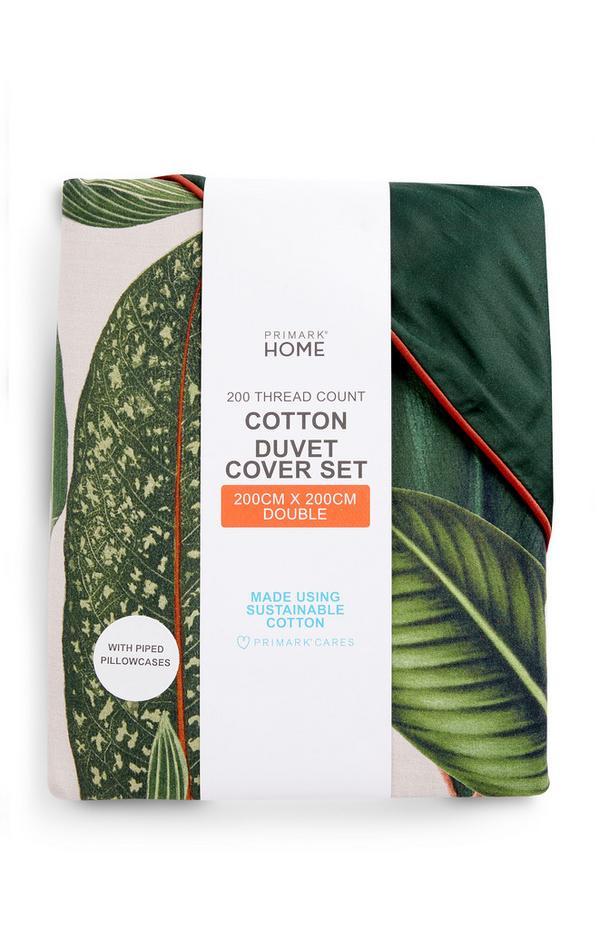 Set copripiumone matrimoniale verde con stampa foglie