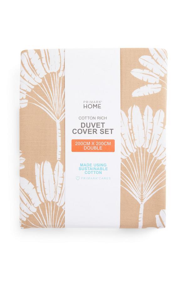 Beige Fan Leaf Print Double Duvet Cover Set