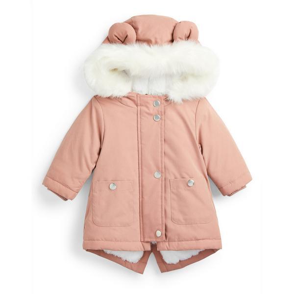 Parka à capuche rose poudré en fausse fourrure bébé fille