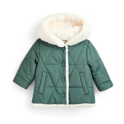 Chaqueta verde con capucha de borrego para bebé niña