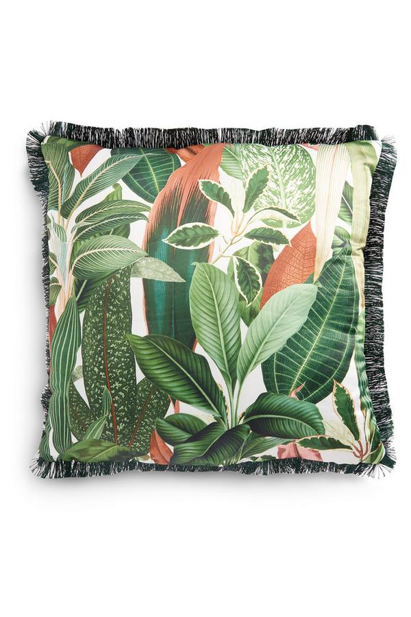 Grünes Kissen mit Amazonas-Blatt-Print und Fransen, 50 cm x 50 cm