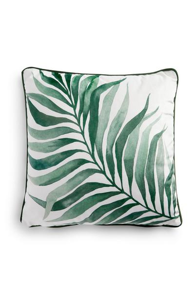Single Green Leaf Print Cushion