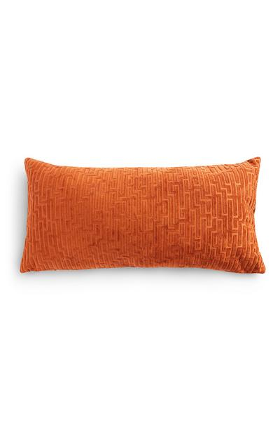 Kleines, längliches Kissen mit Meandros-Muster in Dunkelorange