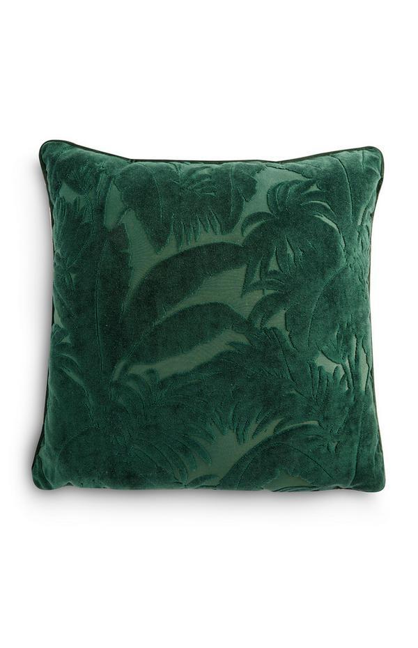 Cuscino verde in velluto rasato con motivo foglie di banano