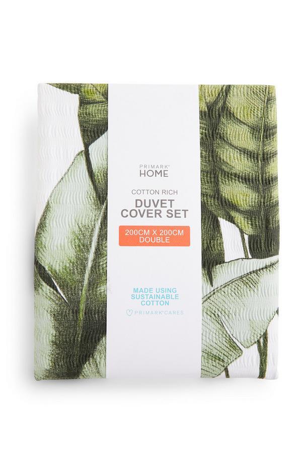 Green Leaf Print Seersucker Double Duvet Cover Set