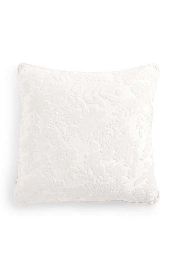 White Floral Sheared Velvet Cushion
