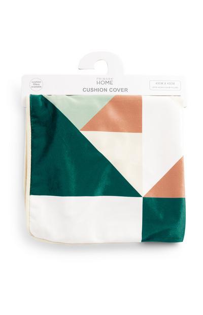 Housse de coussin verte en velours à motifs géométriques