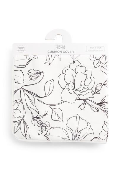 Housse de coussin blanche en velours à motif floral linéaire