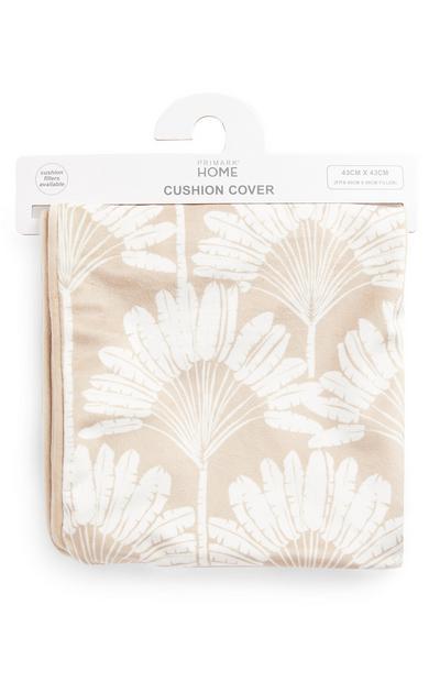 Housse de coussin beige en velours à motifs feuilles façon éventails