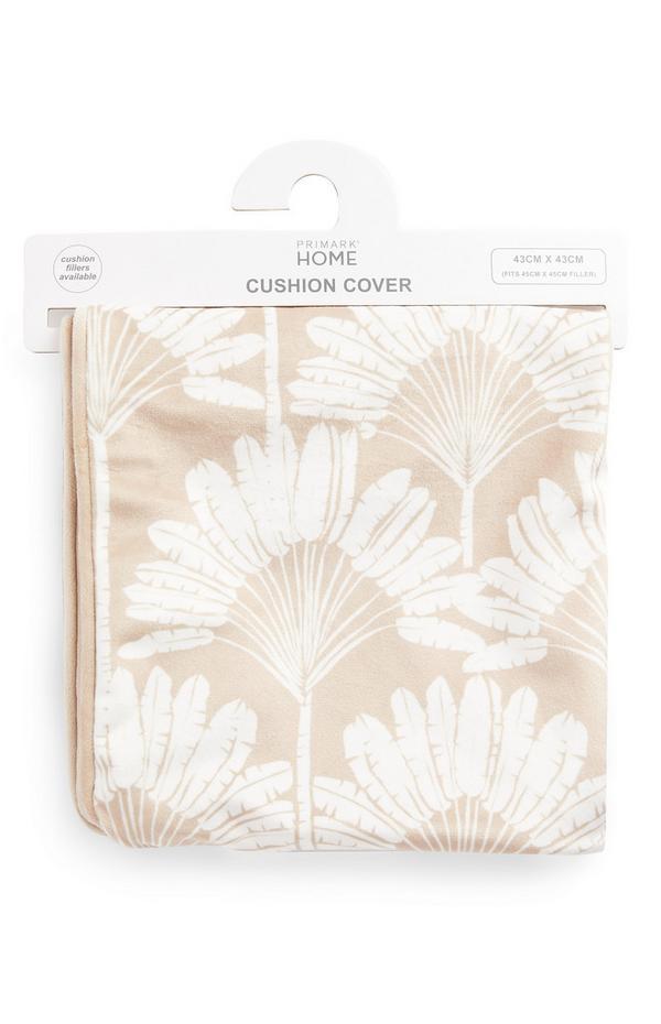 Copricuscino beige in velluto con stampa foglie a ventaglio