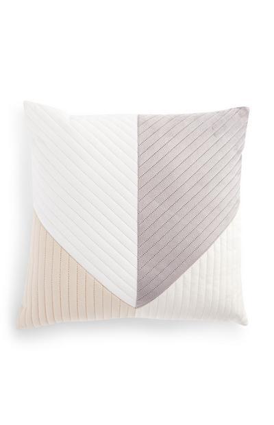 Geometrisch fluwelen kussen in neutrale kleuren