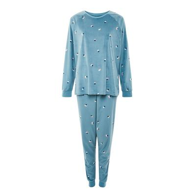 Pyjama bleu en tissu minky doux à pois