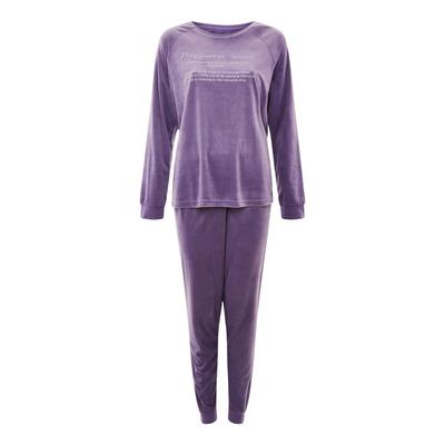 Purple Soft Touch Minky Slogan Print Pajamas Set