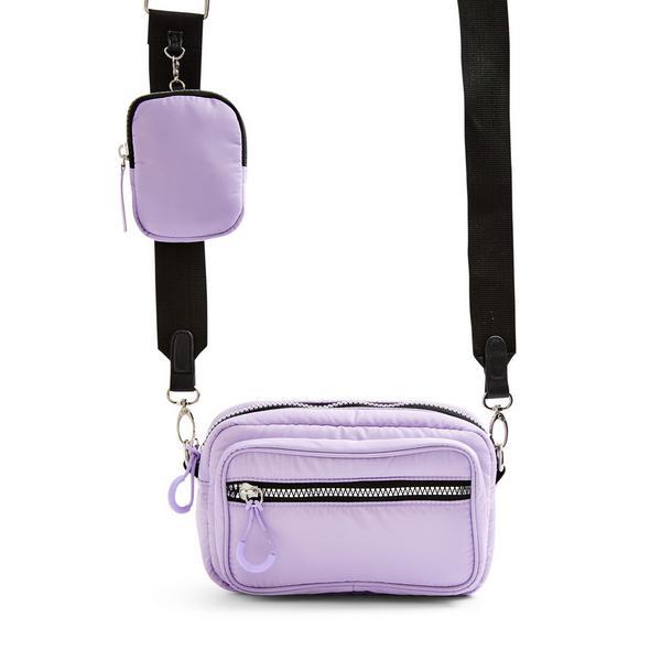 Lilac Nylon 2-In-1 Crossbody Camera Bag