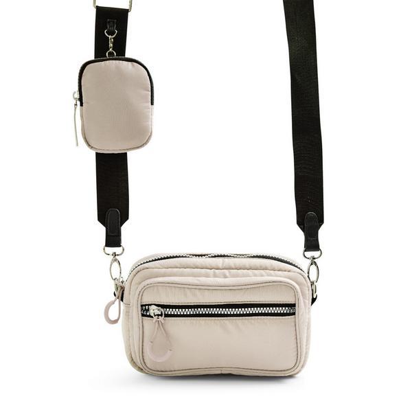 Cream Nylon 2-In-1 Crossbody Camera Bag