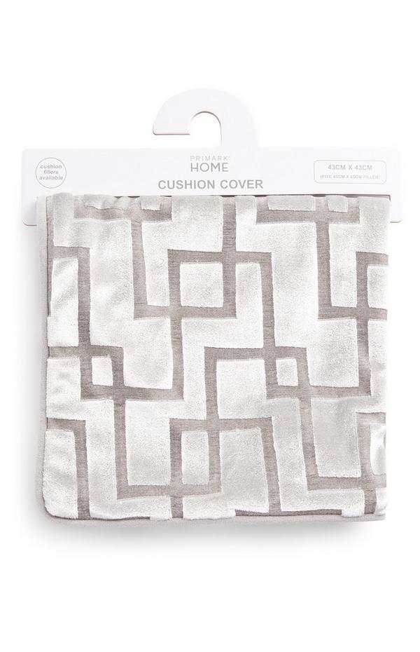 Silberfarbener Samtkissenbezug mit zweifarbigem Muster