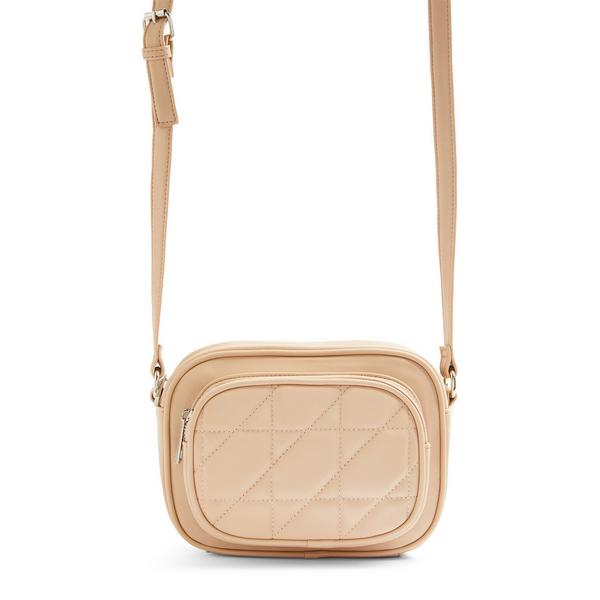 Beige Quilted Crossbody Camera Bag