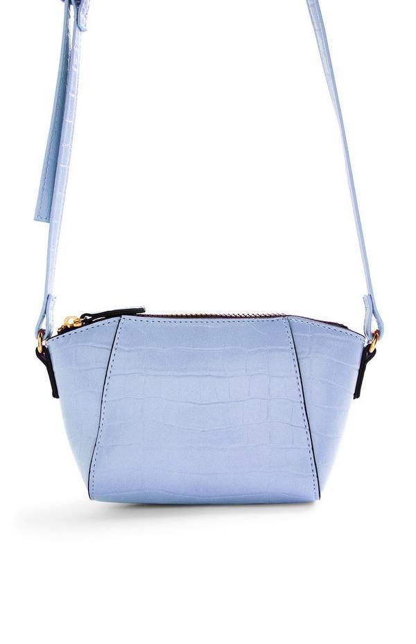 Powder Blue Curved Faux Crocodile Skin Crossbody Bag