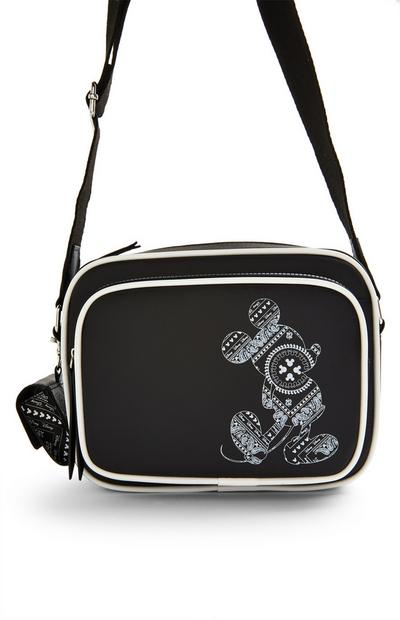Black Disney Mickey Mouse Paisley Crossbody Camera Bag