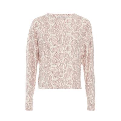 Pink Carbon Snake Print Pyjama Top