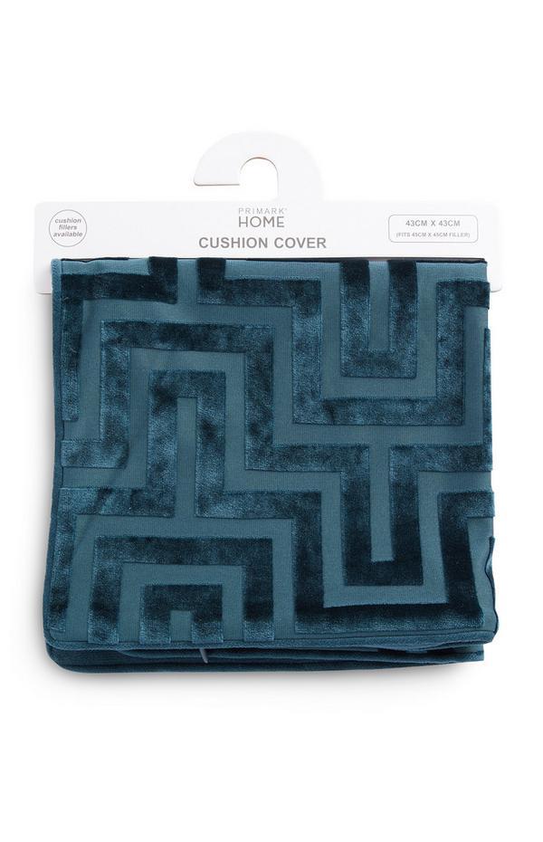 Blauer Kissenbezug mit Meandros-Muster
