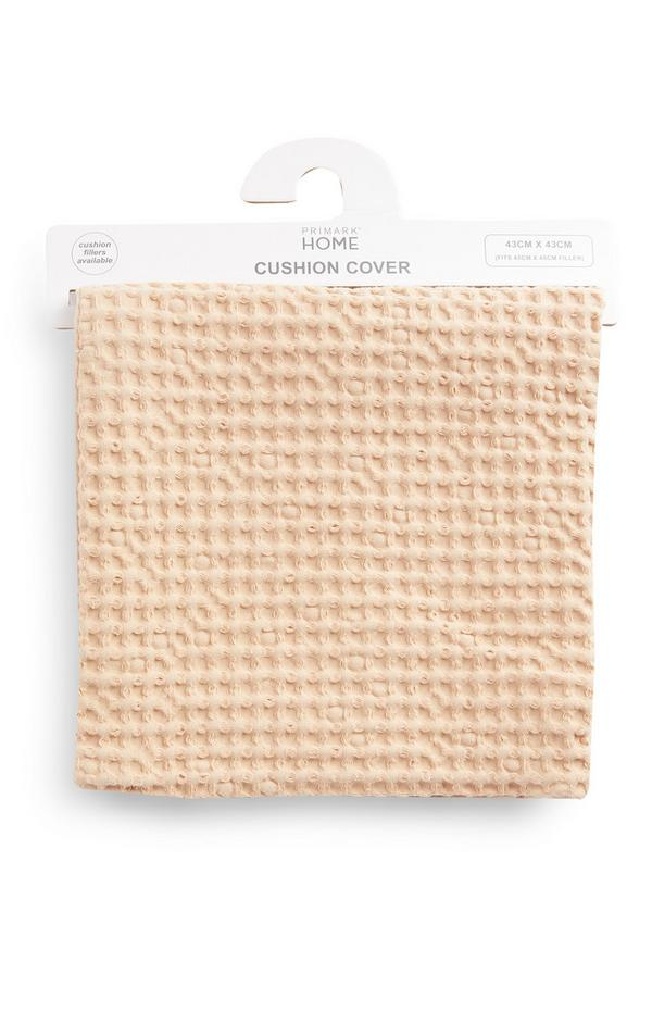 Beige Waffle Texture Cushion Cover