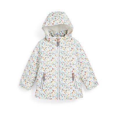 Younger Girl White Floral Print Taslon Jacket